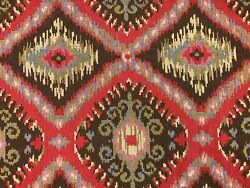 Southwestern Tapestry Red Brown Olive Green Blue Ikat Upholstery Fabric