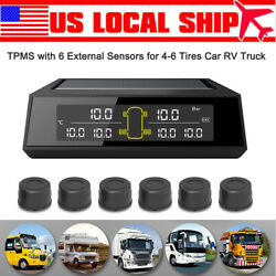 Car Tpms Tyre Pressure System Solar Power Auto Automatic Lcd Security + 6sensors