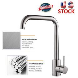Brushed Nickel Kitchen Sink Faucet Single Handle 1 Hole Swivel Spout Mixer Tap