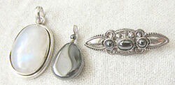 3 Vintage Silver Sterling And Gemstone Jewelry Items 2 Pendants And Brooch, Israel
