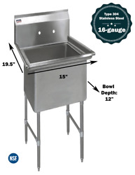 """1 Compartment Commercial Stainless Steel Kitchen Utility Sink - 15"""" X 19½"""" X 36"""