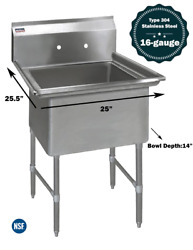 """1 Compartment Commercial Stainless Steel Kitchen Utility Sink - 25"""" X 25½"""" X 36"""""""