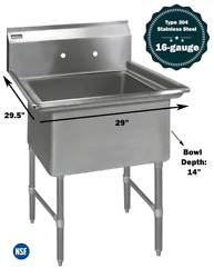 """1 Compartment Commercial Stainless Steel Kitchen Utility Sink - 29"""" X 29½"""" X 36"""""""