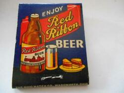 1940and039s Mathie Ruder Brewing Co Red Ribbon Beer Steinie Wausau Wi Full Matchbook