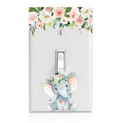 Baby Elephant, Floral Light Switch Cover, Home Decor, Night Light, Cabinet Knob