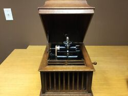 Antique Working Edison Cylider Record Phonograph Player - Oak Cabinet Jer