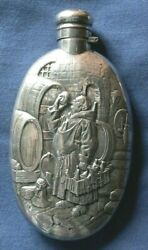 293-antique Silver Early American Liquor Flask