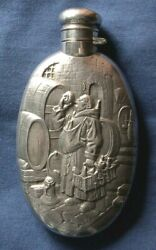 295-antique Silver Early American Liquor Flask.