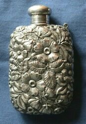 296-antique Silver Early American Liquor Flask
