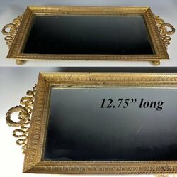 Antique French Baccarat Dore Bronze Mirror Vanity Or Perfume Tray, Liqueur, 13