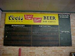 Vintage Large Coors Beer Baseball Scoreboard Sign 4and039 X 8and039 1930and039s 1940and039s Era