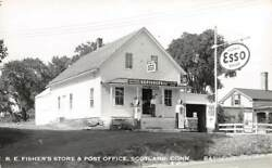Scotland, Ct, Fisher's Store And Post Office, Esso Gas Pumps, Signs, Rppc C 1950's