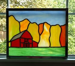 Red Barn Fall Landscape Stained Glass Panel Farmhouse Decor Farm Picture