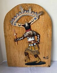 Apache Crown Dancer Hand Carved Relief Wood Plaque Painting Native American Rare