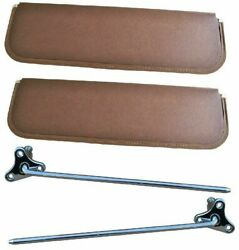 47-53 Chevy/gmc Truck Brown Sunvisor Pad And Mounting Arm Set Rh And Lh Pair