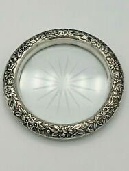 S. Kirk And Son Repousse Sterling Silver Set Of 6 Coasters W/ Cut Glass Centers 4