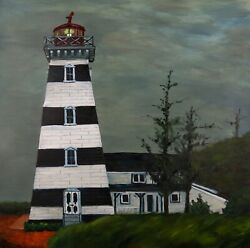 Oil Painting - Point West Lighthouse 20 X 20 Original Signed Pei Canada