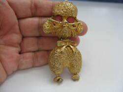 Vintage Gold Plated Glass Poodle With Glasses Pendant 3