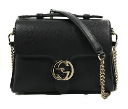 510302 Interlocking G Buckle Black Leather Convertible Chain Leather Bag