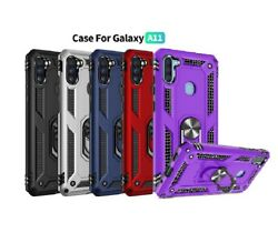 For Samsung Galaxy A11 Casering Kickstand Phone Cover+tempered Glass Protector