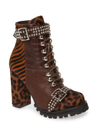 Jeffrey Campbell Lilith 2f Brown Lace-up Leopard Animal Print Bootie Size 8m