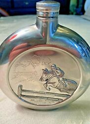Vintage Flask 95 Pewter Etain Zinn , Jumping Horse, France, Fantastic Condition