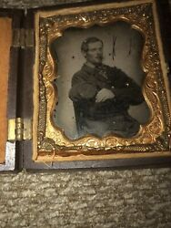 Civil War 9th Plate Ambrotype Soldier Sack Coat And Kepi Thermoplastic Image Case