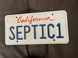 """California License Plate Vintage Reads Septic1"""" Collectible Vanity Plate"""