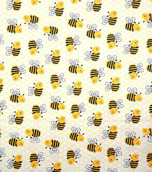 Kid#x27;s Novelty 100% Cotton Fabric Happy Bees Bumble Bees 100% Cotton DIY Crafts $3.99