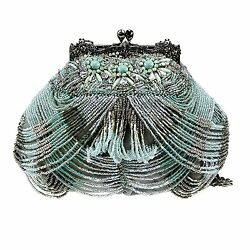 Mary Frances Marie Antoinette Mini Blue Aqua Pewter Bag Beaded Deco Handbag New $219.99