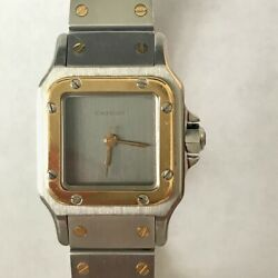 Santos Galbee Automatic Gold And Stainless Steel Watch, Rare Grey Dial