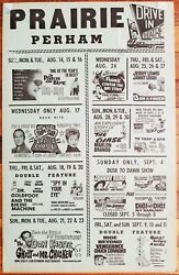 Large Coming Attractions Movie Praire Drive-in Theater Poster 1966 Perham Minn.