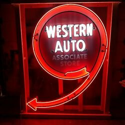 Old Western Auto Porcelain Sign With Neon / Animated Arrow / Free Delivery 54x90