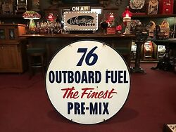 Union 76 Porcelain Sign 42 Double-sided Outboard Boat Gasoline Watch Video