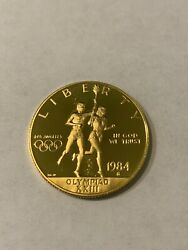 1984 S Proof Olympic 10 Commemorative Gold Coin As Issued Box/coa