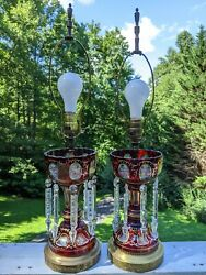 Antique Ruby Glass Mantle Lustres Cut To Clear And Painted Lamps Germany U.s. Zone