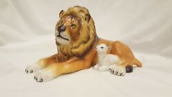 Lion With Lamb Herend Animal Figurine Hand Painted