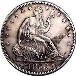 1853 Arrows And Rays Seated Liberty Half Dollar Toning Tough Date 191