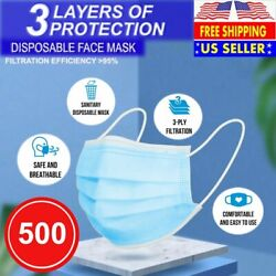 [500 Pcs] Face Mask Non-medical Surgical Disposable 3-ply Earloop Mouth Cover Bl