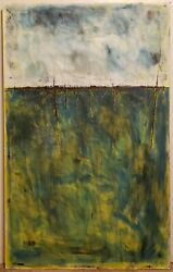 No.812 Large Original Abstract Minimal Modern Landscape Painting By K.a.davis