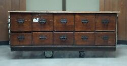 Antique Original Sherer Store File Cabinet Counter 7ft Heavy Wear And Damage