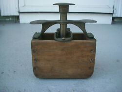 Rare Antique Cheese/butter Wooden And Metal Press