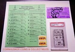 1977 Kentucky Derby Seattle Slew 2 Un-cashed Win Ticket, Program And Entry Ticket