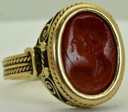 Amazing Antique Victorian 19th Century 18k Gold Ring With Carnelian Intaglio