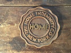 Vintage The New York Home Indemnity Co Insurance Company Sign Advertising - Home