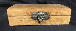 Antique Velvet Box With Ornate Brass Face Figure Latch 5.5x2.5x1.5 Inches