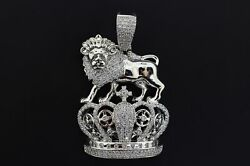14k White Gold Plated Hip Hop Fashion Lion King Crown Iced Bling Pendant Charm