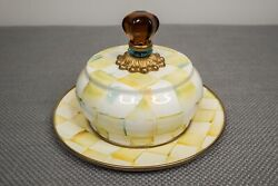 Mackenzie Childs Parchment Check Enamel Covered Butter Dish Salad Plate Yellow