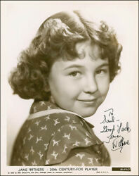 Jane Withers - Inscribed Photograph Signed Circa 1939
