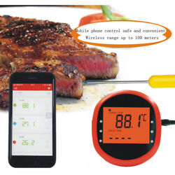 Wireless Bluetooth Bbq Meat Thermometer Food Cooking Oven Grill Smoker 2 Probes